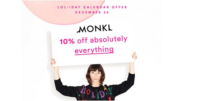 Monki Sale 10 % Rabatt auf alles am 24. Dezember