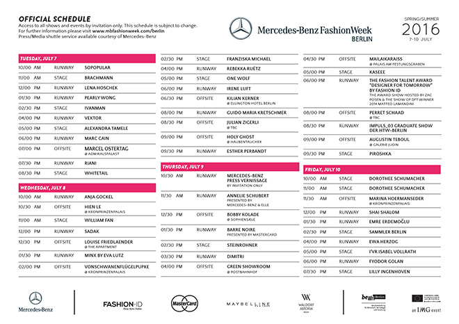 Finaler schauenplan der mercedes benz fashion week berlin for Mercedes benz schedule a