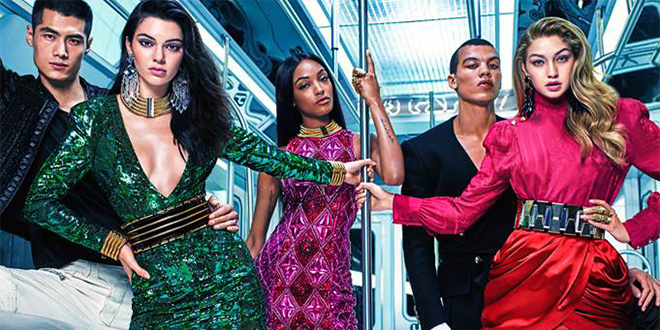 Balmain x H&M Kampagne: Sequins on the Subway